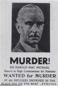 Ulotka żydowska nazywająca MacMichaela mordercą.