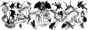 """1.Pasek tytułowy z drezdeńskiej gazety, """"Diabeł w Niemczech"""" z 1897 roku."""