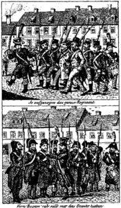 10.Karykatura wyśmiewająca Żydów jako żołnierzy, 1833 rok.