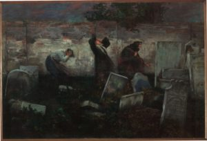 """Samuel Hirszenberg, """"Cmentarz żydowski"""", 1892, 216,5x313,3 cm, ze zbiorów Muzeum Historii Judaizmu w Paryżu"""