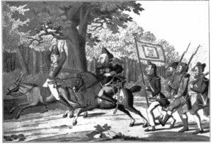 3.Śmierć Absalona, karykatura oparta na motywach wojen napoleońskich w Hiszpanii, Norymberga 1825 rok.