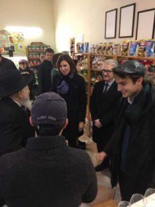 Konsul generalny Francji, przedstawicielka  konsulatu generalnego USA w Krakowie oraz rabin  Edgar Gluck, fot. Kordian Gdulski/KosherDeli