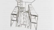 Rysunek przedstawiający bunkier Krysia. Na środku stół, po bokach prycze, miejsca do spania